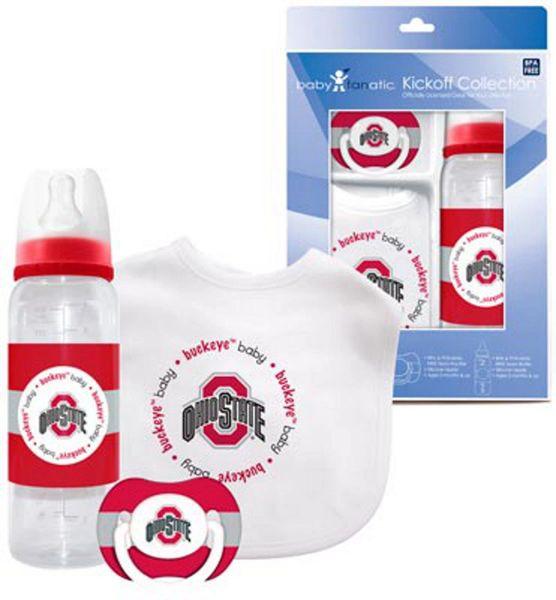 Ohio State Buckeyes Baby BIB, Pacifier, Bottle Gift Set NCAA