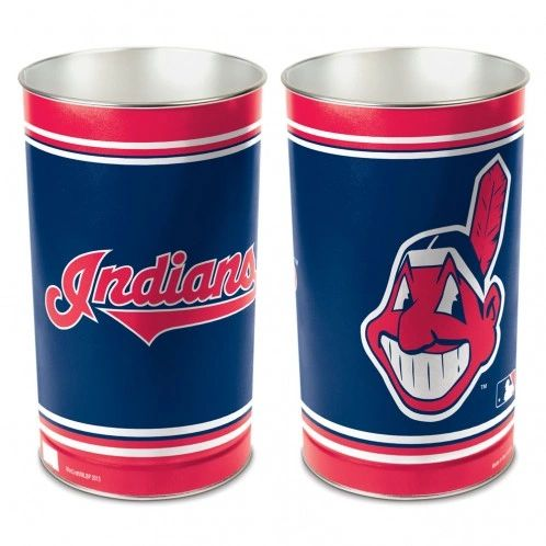 Cleveland Indians Chief Wahoo Metal Waste Basket MLB