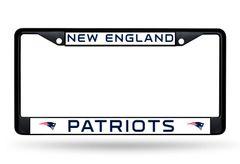 New England Patriots BLACK Chrome Metal License Plate Frame NFL