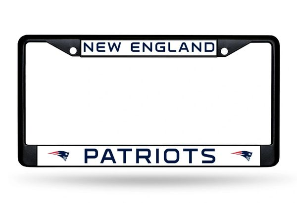 New England Patriots BLACK Chrome Metal License Plate Frame NFL
