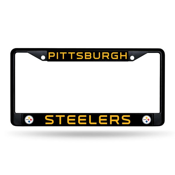 Pittsburgh Steelers BLACK Chrome Metal License Plate Frame NFL Licensed