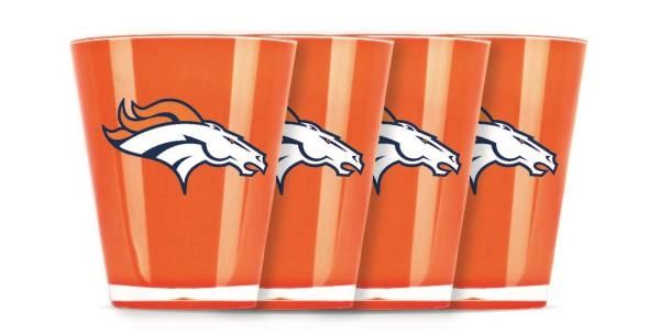 Denver Broncos Shot Glasses 4 Pack Shatterproof NFL