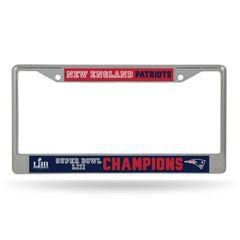 New England Patriots Super Bowl 53 Champions Chrome License Plate Frame NFL