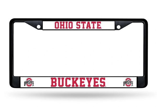 Ohio State Buckeyes BLACK Chrome Metal License Plate Frame NCAA