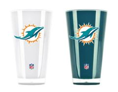 Miami Dolphins Insulated Tumbler Cup 2 Pack On Field Colors NFL Licensed