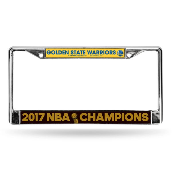 "Golden State Warriors ""2017 Finals Champions"" Chrome Metal License Plate Frame NBA"