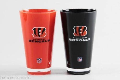 """Cincinnati Bengals Insulated Tumbler Cup 2 Pack 20oz. """"On Field Colors"""" NFL Licensed"""