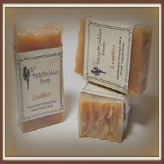 """Leather"" Coconut Oil Greek Yogurt Handmade Shea Butter Soap Bar"