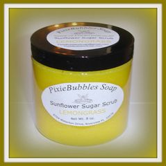 Lemongrass Sunflower Coconut Oil Beeswax Sugar Scrub 8 oz.