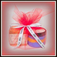 One Dozen Party Favors Gift Sets ~~ 3 oz. Coconut Oil & Greek Yogurt Soap & 4 oz. Sugar Scrub Customized Label Tulle Wrapping