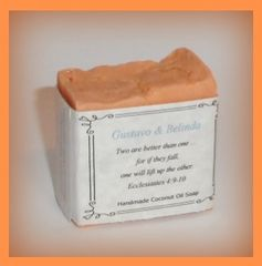 One Dozen Party Favors 2 oz. Size Coconut Oil & Greek Yogurt Soap Customized Label Organza Tie Bag