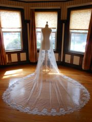 One Tier Cathedral Bridal Veil with Lace Applique Edge O003