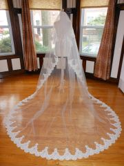 Two Tier Cathedral Bridal Veil with Lace Applique Edge T003