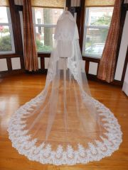 Two Tier Cathedral Bridal Veil with Lace Applique Edge T004