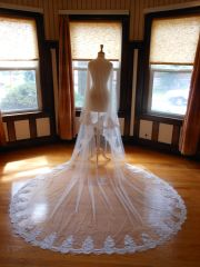 Two Tier Cathedral Bridal Veil with Lace Applique Edge T002