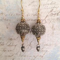 Balinese Bohemian Lantern Earrings in Solid Silver