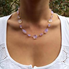 Lilac, Pink and Clear Faceted Opalite Necklace