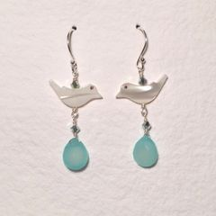 Aqua Chalcedony and Mother-of-Pearl Bird Earrings