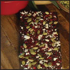 Organic cherry, pumpkin seeds, macadamia nuts, organic 85% cacao. Three bars per order