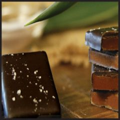 Coconut milk caramels with sea salt, organic 85% cacao. Three bars per order.