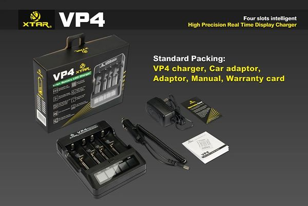 XTAR VP4 Li-ion Intelligent Charger w/ AC & DC Cords