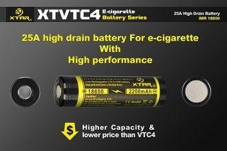 18650 2200mAh XTAR XTVTC4 High Drain Rechargeable Battery