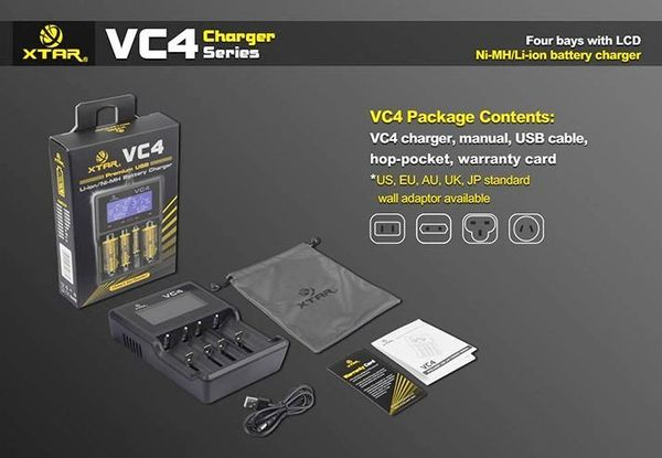 XTAR VC4 Li-ion/NiMH/NiCD Intelligent Charger