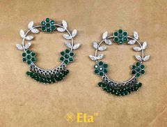 Silver floral earring