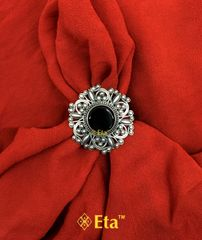 Silver floral jaali ring
