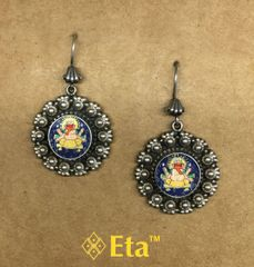 Silver ganesha painted earring