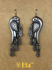 Silver parrot earring