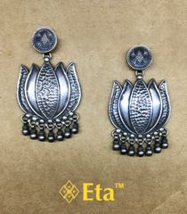 Silver lotus earring