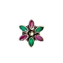 Silver floral stone nosepin