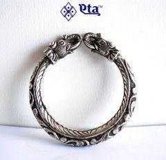 Silver chitai elephant head kada