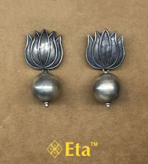 Silver lotus ball earring