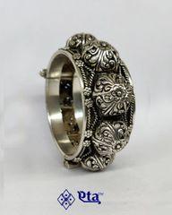 Silver floral carved kada