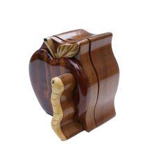 Apple & Worm Wooden Secret Puzzle Box