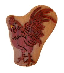 Rooster Tribal Art Wooden Secret Puzzle Box