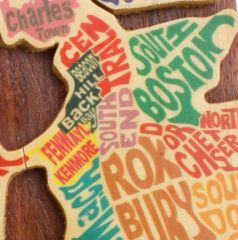 Boston Neighborhood Map Wooden Secret Puzzle Box