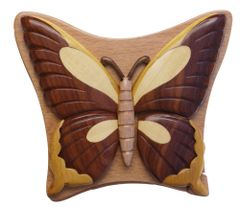 Butterfly Intarsia Wooden Secret Puzzle Box