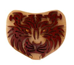 Siberian Tiger Tribal Art Intarsia Puzzle Box