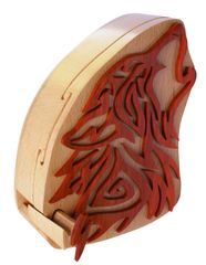 Wolf Dog Wooden Secret Puzzle Box