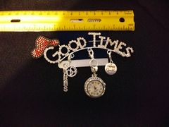 Rhinestone GOOD TIMES pin with Red Hat and Charms
