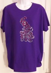 Purple T-shirt with Rhinestone Peacock
