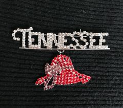 TENNESSEE with Red Hat Dangle rhinestone pin