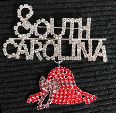 SOUTH CAROLINA with a Red Hat Dangle rhinestone pin