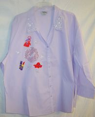 Lavender Shirt - Big Red Lips