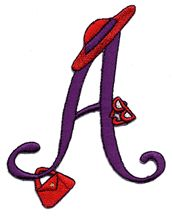 Red and Purple Alphabet IRON-ON Appliques