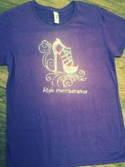 Purple T-shirt with Rhinestone High Heel Shoe and High Maintenance