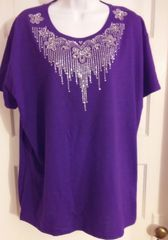 Purple Tee with Floral Rhinestone Neck Design